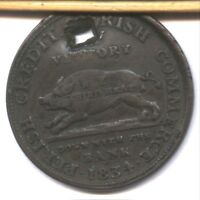 1843 HARD TIMES TOKEN  HIGH GRADE  SMOOTH CHOCOLATE  SQUARE HOLE  AFFORDABLE