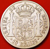 SPAIN. 10 REALES 1855   ISABEL II.SIVER.  KM 595.1