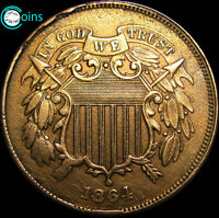 1864 TWO CENT PIECE 2CP TYPE COIN ----- LIGHTLY CLEANED  ----- V053