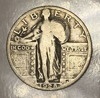 1928 STANDING LIBERTY QUARTER   25C   US 90 SILVER COIN LOT 179