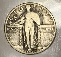 1929 STANDING LIBERTY QUARTER   25C   US 90 SILVER COIN LOT 187