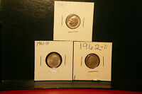 1961,1961 D,1962 D   ROOSEVELT SILVER DIMES  CIRCULATED   NICE