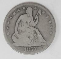 1857 P SEATED LIBERTY SILVER HALF DOLLAR DRAPERY AT ELBOW