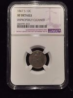 1867 S SEATED LIBERTY DIME NGC EXTRA FINE   FINE 10C DOLLAR