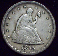 1875 S 20 TWENTY CENT PIECE SILVER SEATED LIBERTY  VF  DETAILING   AUTHENTIC