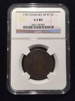1797 REV 97 STEMS DRAPED BUST LARGE CENT PCGS G 1C GOOD TYPE SHELDON