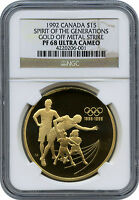 PROOF 1992 CANADA $15 GOLD OFF METAL STRIKE  SHOULD BE SILVER  NGC PF 68