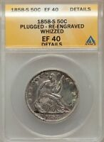 1858 S LIBERTY SEATED HALF DOLLAR  ANACS   EF 40 DETAILS