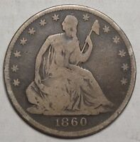 1860 O SEATED LIBERTY HALF DOLLAR POPULAR TYPE COIN   1229 05