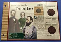 1866-P TWO CENT PIECE VG-EXTRA FINE  CIRCULATED US COIN IN PROTECTIVE DISPLAY HOLDER