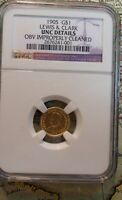 1905 GOLD $1 LEWIS AND CLARK COMMEMORATIVE COIN NGC GRADED  BETTER DATE