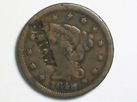 NICE OLD VG 1846 SMALL DATE LARGE CENT COUNTERSTAMPED