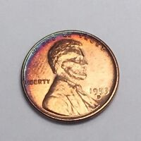 1953-D LINCOLN WHEAT CENT BU CONDITION TONED RAINBOW COLORS WF-0517