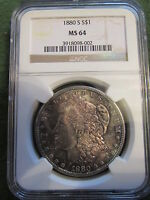 1880 S MORGAN DOLLAR CERTIFIED NGC MS 64 SLAB RAINBOW COLOR TONED OBVERSE