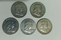 1957D,1959D,1961D,1962D,63P FRANKLIN HALF DOLLAR JUNK SILVER COINS MAKE AN OFFER