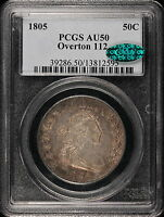 1805 O.112, 50C CAPPED BUST HALF DOLLAR, PCGS AU 50 CAC, TO