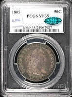 1805 O.106, 50C CAPPED BUST HALF DOLLAR, PCGS VF 35 CAC, TO