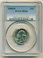 PCGS 1984 D WASHINGTON QUARTER UNC MS66