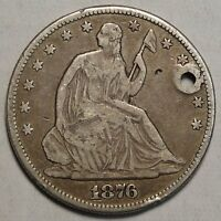 1876 CC SEATED LIBERTY HALF POPULAR CARSON CITY DATE DISCOUNTED     0331 11
