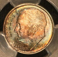1947 S SLAB ERROR ROOSEVELT DIME PCGS MS66 TONED MULTI COLOR TONING 9F
