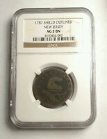1787 NEW JERSEY COLONIAL COPPER SHIELD OUTLINED NGC AG3 WOW