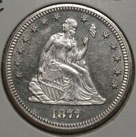 1877 CC SEATED LIBERTY QUARTER PROOFLIKE UNCIRCULATED CAMEO CONTRAST  0502 14