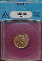1944 S LINCOLN WHEAT CENT ANACS CERTIFIED MS 66 RED