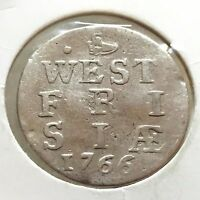 1766 NETHERLANDS DUTCH COLONIAL WEST FRIESLAND 2 STUIVERS SILVER COIN 535
