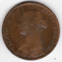 UK BRITAIN  1862 HALFPENNY G/VG KM 748.2 VICTORIA 1/2 PENNY COIN