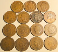 LOT OF 16 MIXED DATE INDIAN HEAD CENTS 1800'S-1900'S