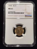 1903 LIBERTY HEAD $2.5 GOLD QUARTER EAGLE NGC MS61 $2 1/2 DOLLAR BRILLIANT UNC