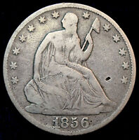 1856 O SEATED LIBERTY HALF DOLLAR VG A NICE COIN FOR TYPE  1215 26