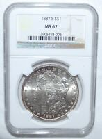 1887-S  MORGAN DOLLAR  NGC  MINT STATE 62