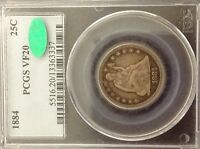 1884 LIBERTY SEATED QUARTER 25C PCGS VF20 & CAC   PROBLEM FREE   8,000 MINTED
