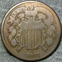 1871 TWO CENT PIECE 2 CENT PIECE  ---- TYPE COIN LOW MINTAGE ---- H446