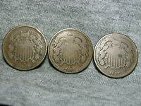 LOT OF 3 1867 TWO CENT PIECES ---- TYPE COIN LOW MINTAGE ---- H451