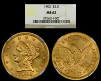 1902 $2.5 GOLD COIN NGC MS62