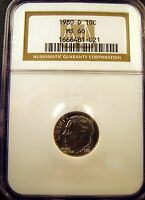 1980 D ROOSEVELT DIME. CHOICE BRILLIANT UNCIRCULATED. NGC CERTIFIED MS66