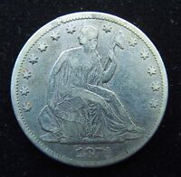 1871 P 50C LIBERTY SEATED SILVER HALF DOLLAR   SOLID VF   POSSIBLE OLD CLEANING