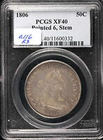 1806 O.116, 50C CAPPED BUST HALF DOLLAR, PCGS EXTRA FINE  40, TO