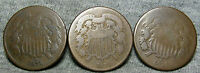 LOT OF 3 1871 TWO CENT PIECES 2CP -- LOW MINTAGE --  H856