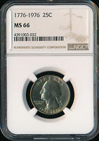 1776  1976 D WASHINGTON QUARTER NGC MS66