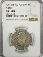 1797 LARGE CENT 1C S-120B - GRIPPED EDGE REV OF '95 NGC VG10 PROBLEM FREE