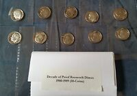 1980 1989 DECADE OF PROOF ROOSEVELT DIMES/ 10 COINS IN ALL