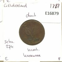 1787 GELDERLAND VOC DUIT NETHERLANDS INDIES NEW YORK COLONIAL PENNY E1679.7