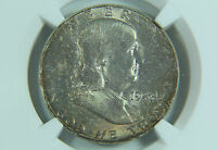1958 FRANKLIN HALF DOLLAR NGC MS65 RAINBOW TONED