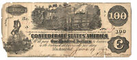 CONFEDERATE 100 DOLLAR BILL  INTEREST TWICE PAID  REV SIGNED AUGUST 11 1862