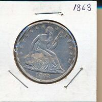 1863 SEATED LIBERTY HALF DOLLAR CIVIL WAR