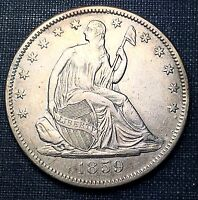 1859 S SEATED LIBERTY HALF DOLLAR  AU/UNC