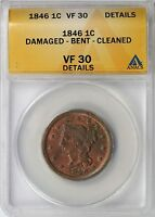 1846 LARGE CENT 1C ANACS VF30 DETAILS